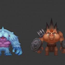 首发 阴阳师风格的二次元风格恶灵退散3d角色 怪物 模型素材